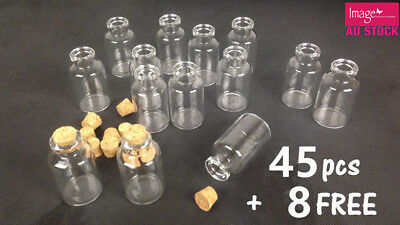 45+8 Mini Clear Tiny Glass Bottle 6cm (H) Vials Jar Cork Stopper Craft DIY YW