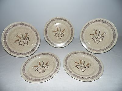 """Vintage Wheat Pattern Dinner Plates, Set of 5, Brown & Tan,10 1/4"""" Dining Plates"""
