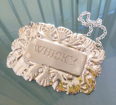 English Silver Plated Whisky Decanter Label  **