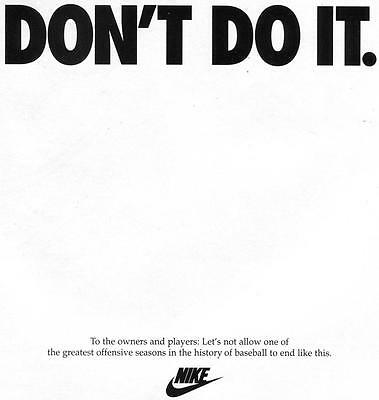 "Rare Vintage Print Ad For Nike ""don't Do It"" 1994-95 Baseball Strike-Man Cave"