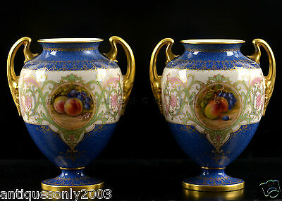 Pair ROYAL WORCESTER Fruit Hand Painted Two Handled Vases by JOHN FLEXMAN SIGNED