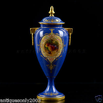 ROYAL WORCESTER Fruit Hand Painted Two-Handled Lidded Vase GEORGE MOSELEY SIGNED