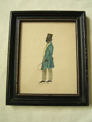 Antique Hand Painted Silhouette Of Gentleman Signed 1821
