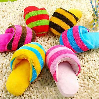 Puppy Dog Toys Pet Puppy Play Squeaker Sound Plush Slippers Bread shape Gift h2