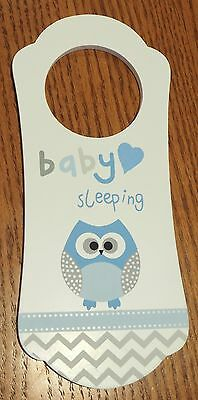 Wooden Owl Baby Sleeping Door Hanger Sign Nursery Do Not Disturb - BOY BLUE