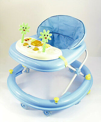 Deluxe Baby Walker Musical Activity Toy Wheels Colour Play Table Push NEW BLUE