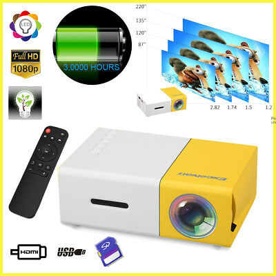 Mini Pocket Projector 1080P HD Home Movie Cinema USB/SD/AV/HDMI PC Laptop UK