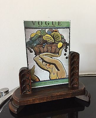 GEOMETRIC ART DECO 1930s OAK PHOTO FRAME WITH VOGUE PRINT