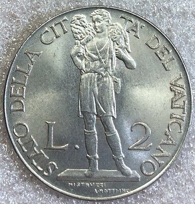 1941 Vatican 2 Lire Shepard Large Stainless Steel WWII Coin!