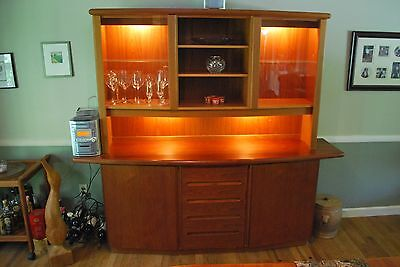 Teak Hutch/China Cabinet, 2 Piece Lighted, Scandinavian