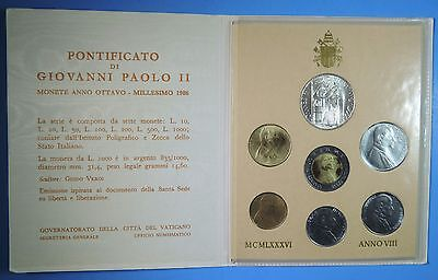 1986 Vatican City Pope John Paul II 7 Coin Uncirculated Set BU Silver 1000 Lire