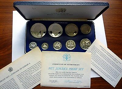 1977 JAMAICA - OFFICIAL PROOF SET (9) - w/ 2 Oz SILVER CROWNS - PS15 - BEAUTY