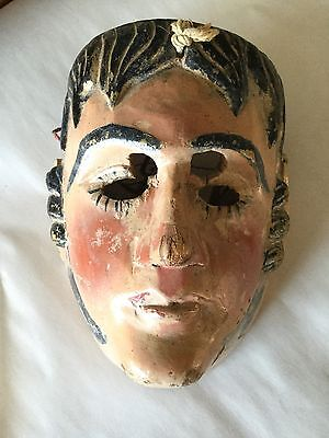 Antique Carved Painted Central American Ceremonial Mask