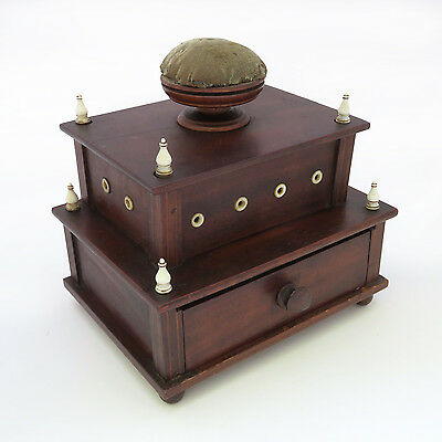 19th c. Walnut 2-Tiered Sewing Box w/ Pincushion ~ AAFA
