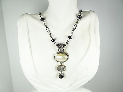 LORI BONN Sterling Silver Faceted Onyx Platinum Druzy & Shell Pendant Necklace