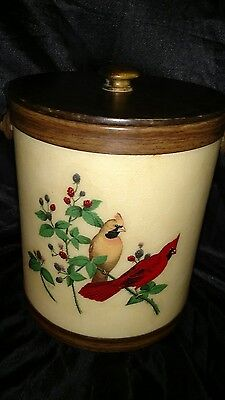 G.G.The Bacova Guild Cardinals / Chickadees Leather Handle Fiberglass Ice Bucket
