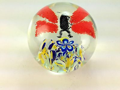 Vintage Lovely John Gentile  Butterfly And Flower Paperweight