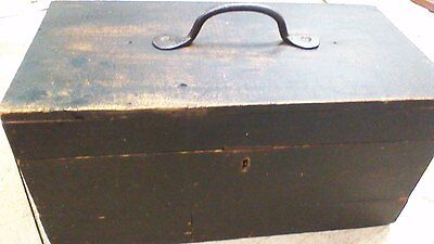 Primitive Toolbox CHEST Old TRUNK Box cast iron handle NICE!