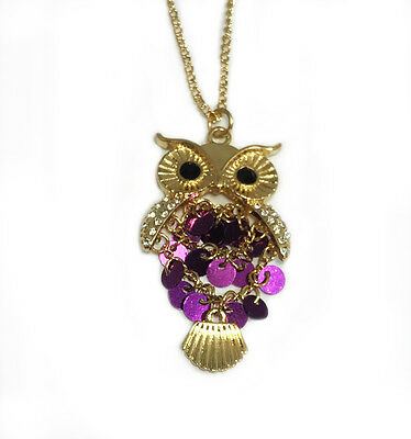 Necklace Mystical Wise Owl Purple Sequins Gold Tone Clear Rhinestones  on Wings