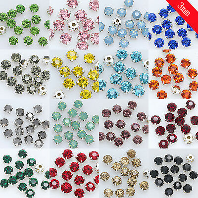 100P ss12 3mm color Sew On Cut Glass chatons Crystal Rhinestones Diamante beads