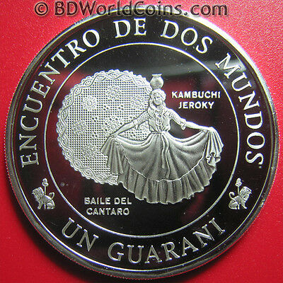 1997 Paraguay One 1 Guarani Silver Proof Woman Dancer Encounter Of Two Worlds