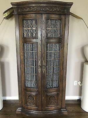 Solid Wood., two door armoire.  when open, shelves on top and 5 drawers at botto