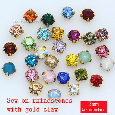 100p 3mm sew on faceted crystal flatback rhinestones jewels trim beads gold base