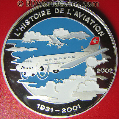 2002 Congo 1000 Francs Silver Proof Colored Douglas Dc-3 Aircraft Wwii Aviation
