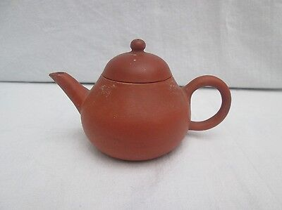 19th Century Miniature Chinese Yixing Redware Clay Teapot.