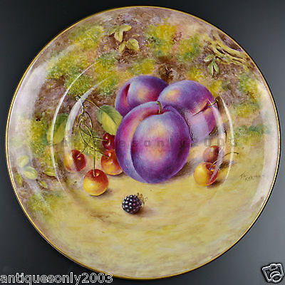 ROYAL WORCESTER Fruit Hand Painted Porcelain Plate Dish by JOHN FREEMAN SIGNED