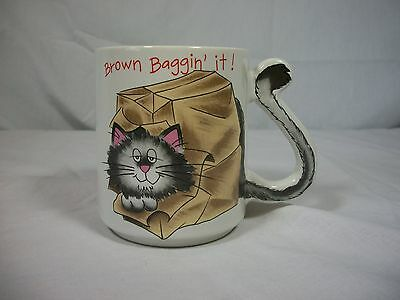 Novelty cat coffee mug Mount Clemons Pottery brown baggin it MIJ