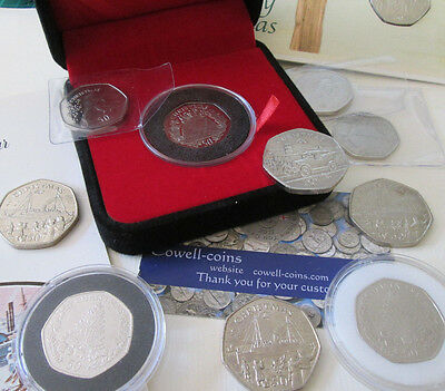 Isle Of Man & Gibraltar Christmas 50P Coins 1978 - 2016 Bunc And Proof Multi