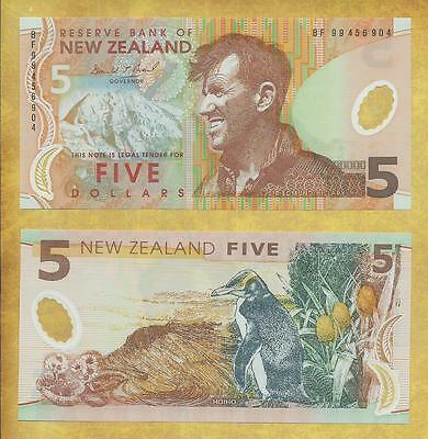 New Zealand 5 Dollars 1999 Prfx BF Unc Currency Banknote P-185a ***USA SELLER***