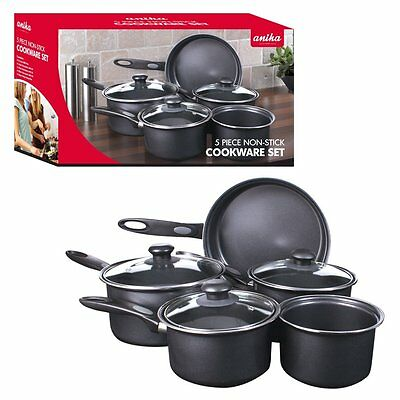 Quest Essential Non-Stick 8 Pieces Cookware Saucepan Black Set Carbon Steel