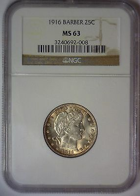 1916 Barber Silver Quarter 25c Lustrous Mint State ~ NGC MS63 MS 63