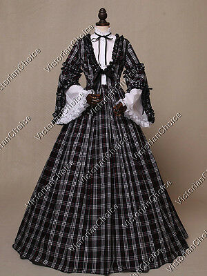 Victorian Civil War Prairie Tartan Dress Witch Ghost Women Halloween Costume 158