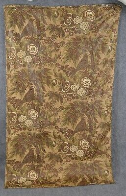 chintz fabric remnant  yards early brown rust birds floral quilt repair antique