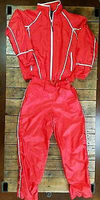 Vtg 80s 90s LAVON Red SMALL Windbreaker Lined TRACK SUIT Shiny Jacket Pants (S1)