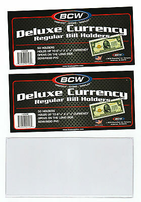 100 Regular  Bcw Deluxe Currency Sleeve Bill  Holders Paper Money Semi Rigid