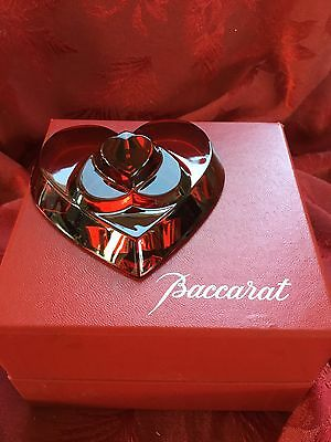 NEW NIB FLAWLESS Exquisite BACCARAT France Ruby Red Crystal COEUR 3 LOVE HEART