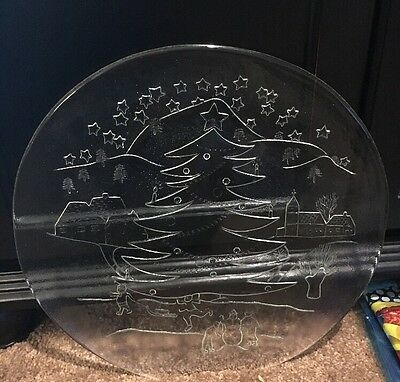 Nice Pilgrim? Glass Serving Tray With Beautiful Winter Scene