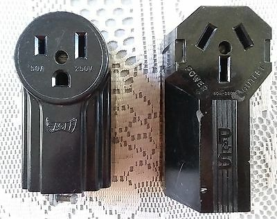 Vintage Eagle and P & S Bakelite Art Deco heavy-duty electrical power outlets