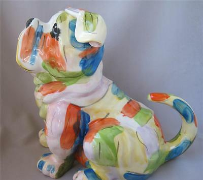 Blue Sky Clayworks MULTI COLOR BULLDOG DOG Tea Pot