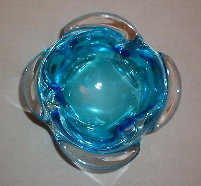 Vintage Murano / Japanese Aqua   Art Glass  Bowl  Mint Condition