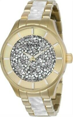 Invicta 24666 Women's White Crystal Dial Two Tone Bracelet Watch