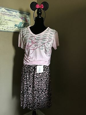 Womens Disney 2X T-Shirt With Lularoe Madison Skirt Xl With New Free Ears...