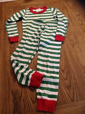 Hanna Andersson 100% Organic Cotton Long John Green Striped Pajama Size 110 (5)