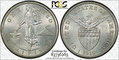 US Philippines 1910-S One Peso PCGS AU 58 ~CPPM~