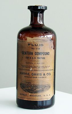 Antique/VTG Drug Store Pharmacy Apothecary Medicine Bottle GENTIAN RX554