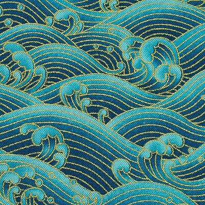 Sea Green Waves Japanese Oriental Fabric Cotton Fat Quarter FQ #F0025